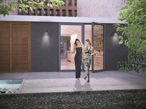 A rendering of the back patio. (Thread Collective.)