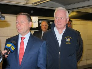 Rob Astorino campaigns in the 77th Street R station with Martin Golden (Photo: Will Bredderman).