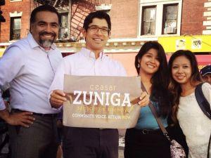 Ceasar Zuniga, left, with Councilman Carlos Menchaca (Twitter: Rodrigo Camarena).