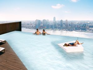 The infinity-edge pool at 626 First, which will also feature a squash court and spa. (SHoP Architects)