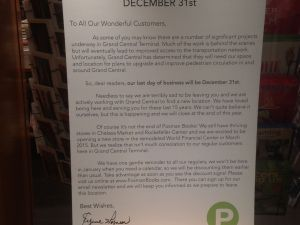 Posman Books in Grand Central will close at the end of the year. The store posted this heartfelt letter to its customers.