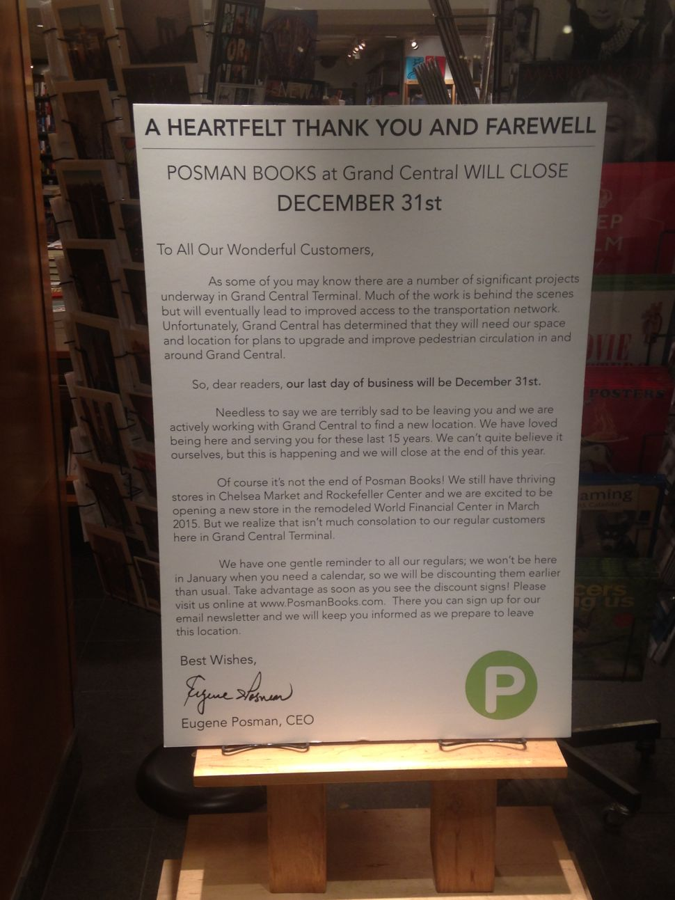 Posman Books in Grand Central Will Close at Year's End