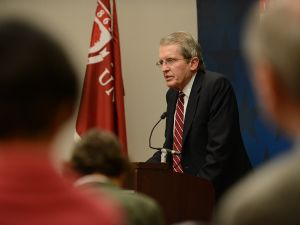Bell during Rider University guest appearance earlier this year. (Photo by Pete Borg, Rider University Communications)