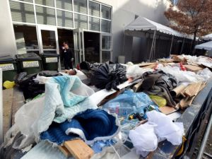 A dumpster outside the Dia Art Foundation filled with flood-damaged items. (Stan Honda/AFP/Getty Images)