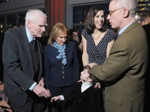 Former NJ Governor Brendan Byrne, his wife Ruthi Zinn Byrne, filmmaker Alexandra Pelosi, her son Thomas Vos and film subject, former NJ Governor Jim McGreevey at a New York premiere of the HBO documentary Fall to Grace last year (Photo by Michael Loccisano/Getty Images for HBO)