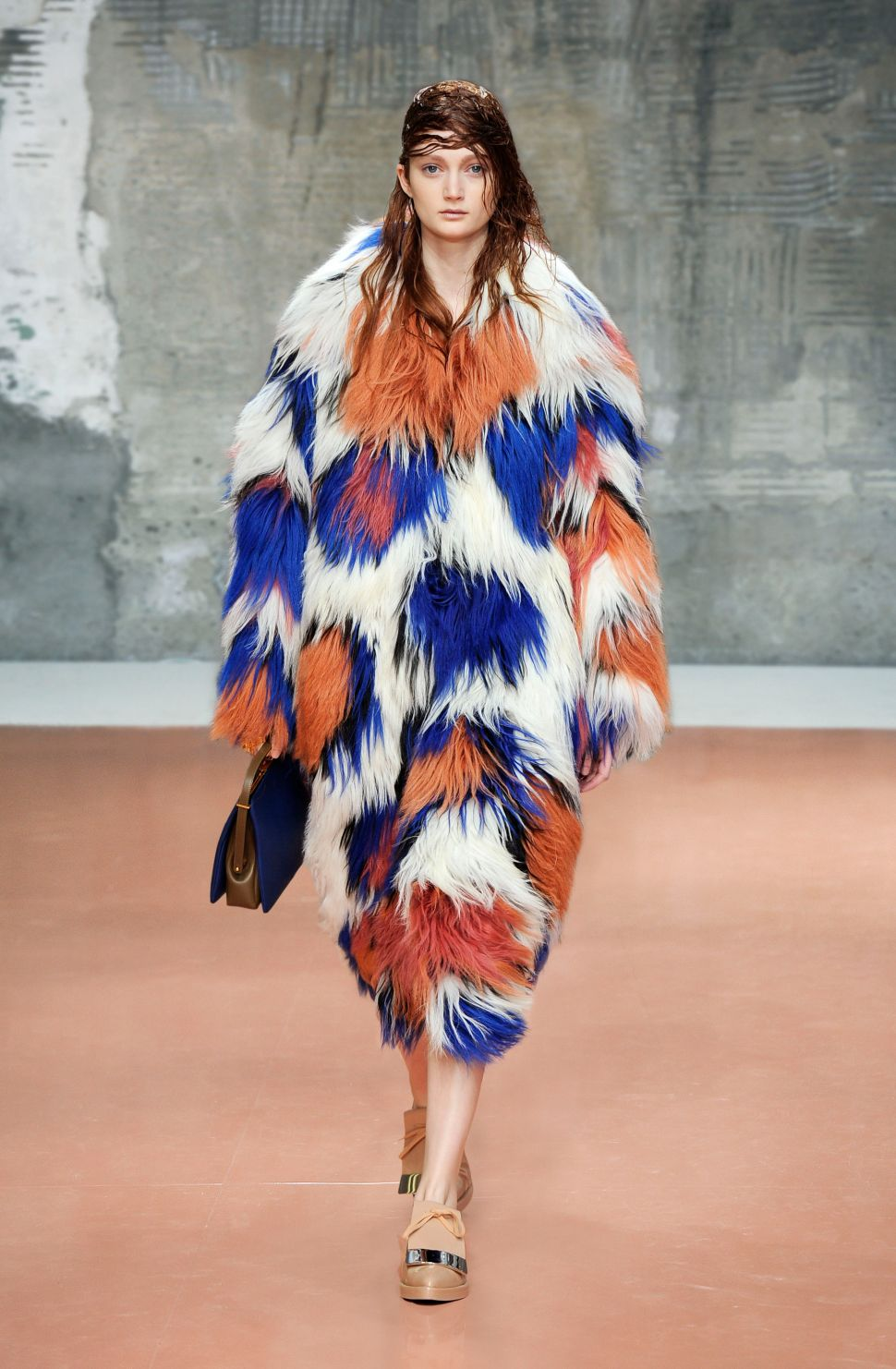 Here's An Orange and Blue Shearling Marni Coat Because Why Not?