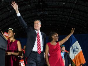 """Mayor de Blasio wants the issue of his wife's chief of staff, Rachel Noerdlinger, to be """"case closed."""" (Photo by Andrew Burton/Getty Images)"""