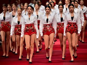 Models walking in the finale of the Dolce & Gabbana show. (Photo via Getty)