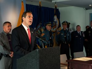 Gov. Andrew Cuomo at a counter-terrorism press conference. (Photo: Bryan Thomas for Getty Images)