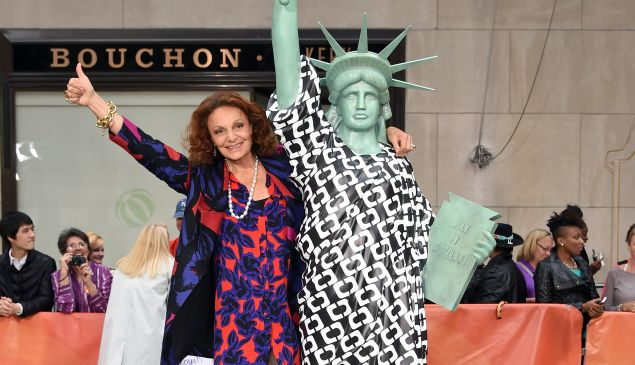 DVF visited the Today Show to unveil one of six statues today. (Photo by Dimitrios Kambouris/Getty Images for House of DVF)