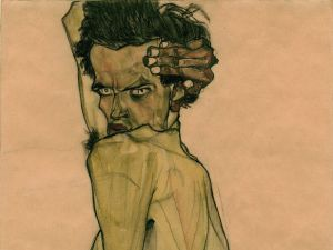 "Egon Schiele, ""Self-Portrait with Arm Twisted above Head,"" 1910. (Courtesy Neue Galerie)"