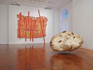 "Installation view of ""El Anatsui"" at Mnuchin Gallery. (Courtesy of the artist and Mnuchin Gallery)"