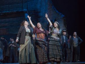 Anita Rachvelishvili (center) as Carmen at the Met Opera. (Photo by Ken Howard and the Metropolitan Opera)