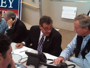 """Christie calls potential Foley supporters in a field campaign office in Trumbull. """"I had no success,"""" he said later."""