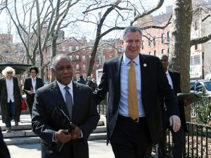 Mayor Bill de Blasio with Mitchell Silver, his Parks commissioner. (Photo: NYC Mayor's Office)