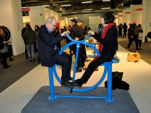 Finkelpearl and Tsai give the machine a go at The Armory Show's Focus: China in 2014. (Photo by Zoë Lescaze)