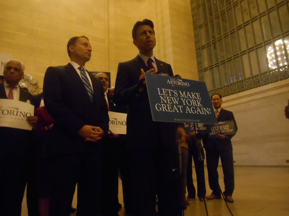 In Chris Christie's Absence, Bobby Jindal Boosts Rob Astorino