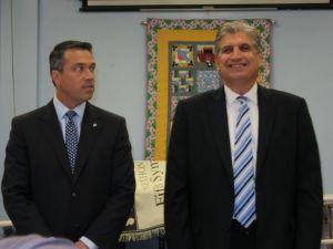 Congressman Michael Grimm and former Councilman Domenic Recchia at a debate.