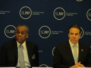Andrew Cuomo with Carl McCall (Photo: Will Bredderman).