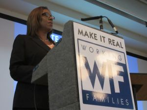"Letitia James speaks at the Working Families Party ""Justice for Workers"" event."
