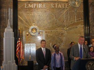 Mayor Bill de Blasio, right, and First Lady Chirlane McCray today (Photo: Will Bredderman).