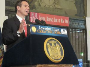 Gov. Andrew Cuomo talks to a business crowd on Wall Street (Photo: Will Bredderman).