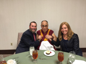 The author, left, with the Dalai Lama