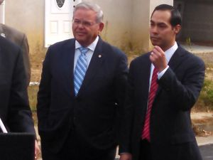 Menendez and Castro, both rumored to be candidate's for Hillary Clinton's presidential cabinet in 2017, address residents of Union Beach on the two year anniversary of Hurricane Sandy.
