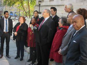 Former Councilman Lew Fidler speaks as Councilman Antonio Reynoso, left, State Senator Liz Krueger, Congressman Hakeem Jeffries and Brooklyn Borough President Eric Adams look on (Photo: Will Bredderman).