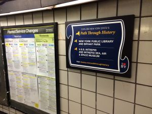 Path Through History sign in 42nd Street Port Authority Subway Exit. (Photo: Katy Turner)
