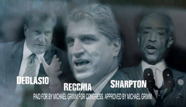 A still from the add depicts Domenic Recchia as part of a trinity with Rev. Al Sharpton (Screengrab: Michael Grimm for Congress).