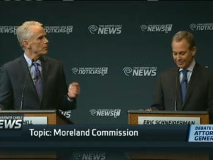 John Cahill and Eric Schneiderman debate. (Screengrab: NY1)