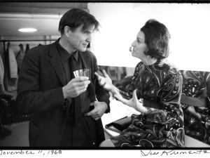Galway Kinnell, who died yesterday at the age of 87, with Anne Sexton backstage at the 92d Street Poetry Center, November 11, 1968. (Photograph by Jill Krementz)