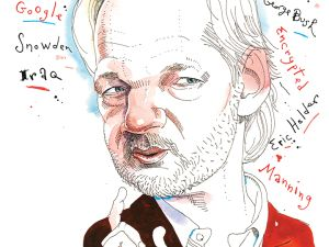 Wikileaks founder Julian Assange as illustrated for the Observer in 2015.