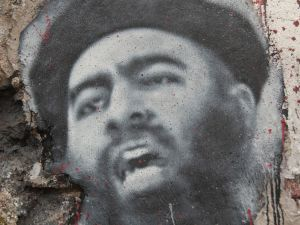 Abu Bakr al Baghdadi, painted portrait. (Photo: Flickr).