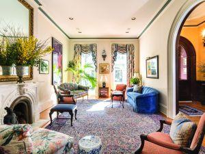 The lavish living room of 192 Columbia Heights. (Evan Joseph, Corcoran.)