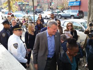 Mayor Bill de Blasio before casting his vote in Park Slope, Brooklyn today. (Photo: Ross Barkan)