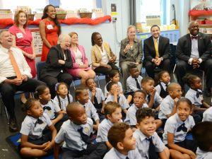Chancellor Carmen Fariña visits a second grade Spanish class at Amber Charter School in Manhattan. (Pool/Getty)