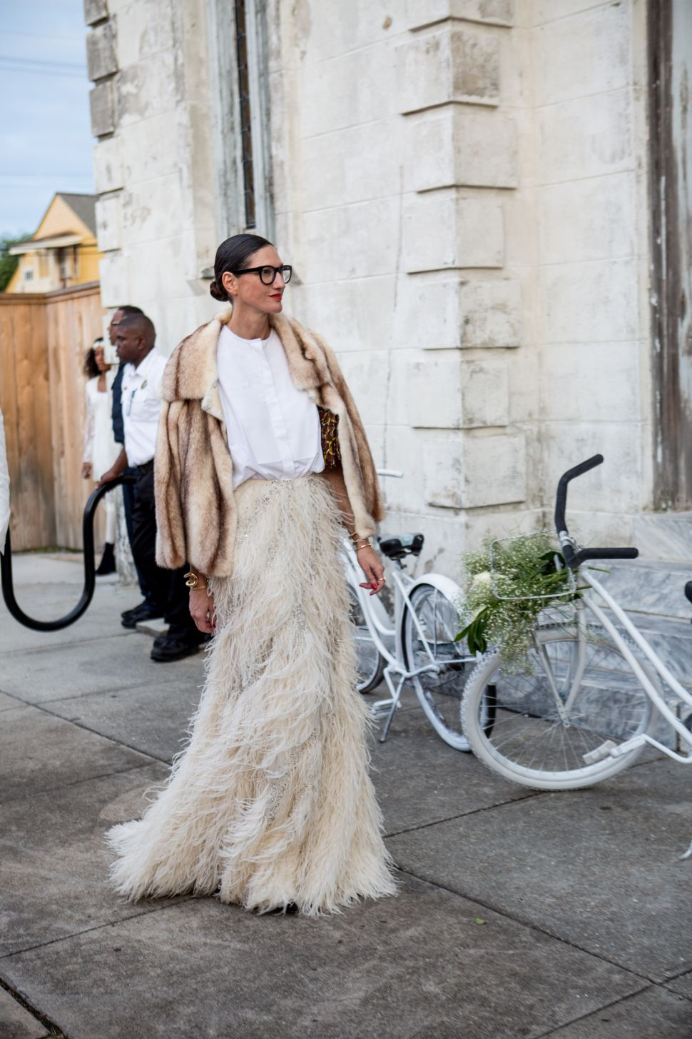 Jenna Lyons Is Stunning in Fur and Feathers at Solange's Wedding