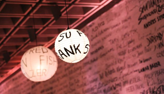 Artists' names on the lights and walls of the Whitney. (Photo courtesy Billy Farrell)