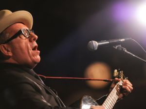 Elvis Costello performs at the Whitney Museum of American Art 2014 Gala. Photograph by Billy Farrell.