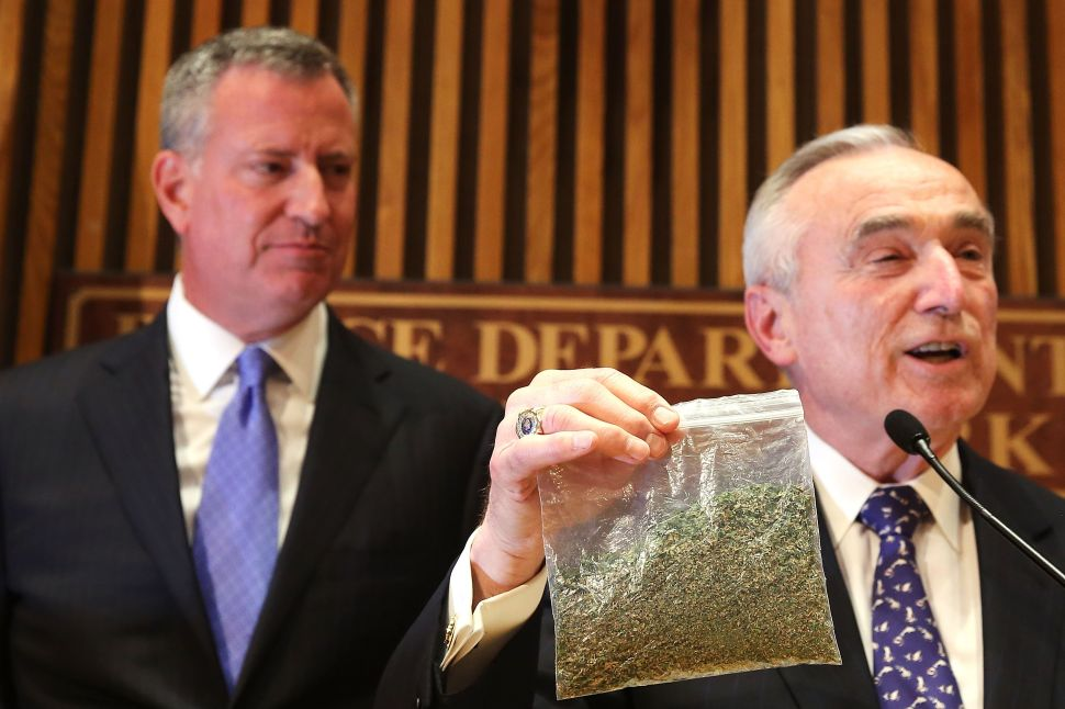 Bratton and de Blasio Announce NYPD Shift Away From Small Marijuana Arrests