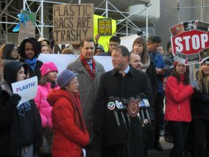 Councilwoman Margaret Chin, left, rallies with Councilman Mark Levine, Councilman Brad Lander, Councilman Corey Johnson and environmental activists.