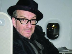 Elvis Costello photographed by Jill Krementz on January 24th, 2014 en route from Los Angeles to NYC.