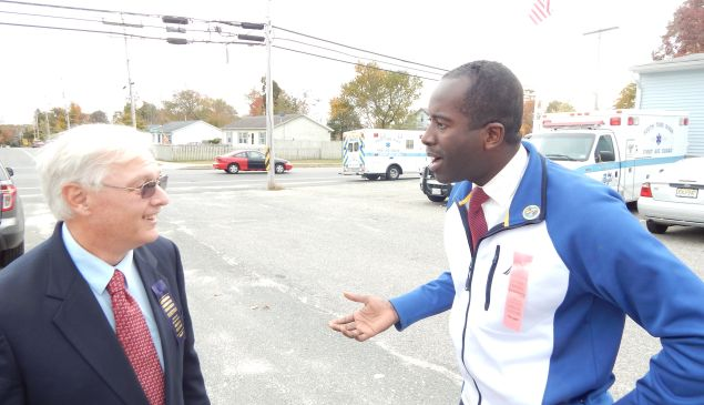 Incumbent mayor Joe Champagne, Jr., up for re-election, argues with Republican councilman William Gleason outside a polling place in South Toms River