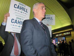 Republican attorney general candidate John Cahill in Penn Station tonight (Photo: Will Bredderman).