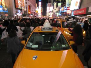 Activists head up Seventh Avenue toward Times Square (Photo: Will Bredderman)....