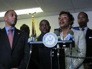 Congressman Hakeem Jeffries, left, flanks State Senator Kevin Parker, Congresswoman Yvette Clarke and Assemblyman Walter Mosley.