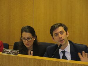Councilman Stephen Levin, right, today (Photo: Will Bredderman).