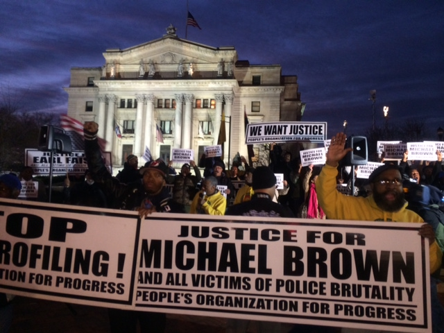 Newark protest denounces lack of indictment following Ferguson fatal shooting